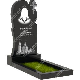 Памятник с крестом К-025 гранит габбро цвет черный 100*50*5