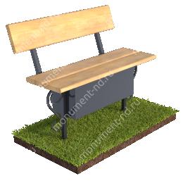 Лавочка со спикой и ящиком  на могилу Л-018 80х100х20 см