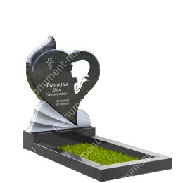 ПС-15 - Памятник с сердцем гранит габбро цвет черный 120*60*8