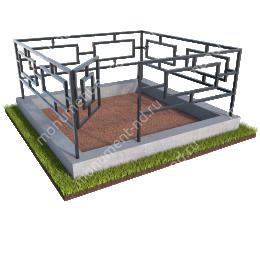 Бетонный цоколь с оградой на могилу БЦО-001 # 200х180 см