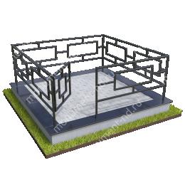 Бетонный цоколь с оградой на могилу БЦО-001_5 # 200х180 см.
