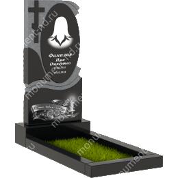 Памятник с крестом K-030 гранит габбро цвет черный 100*50*5