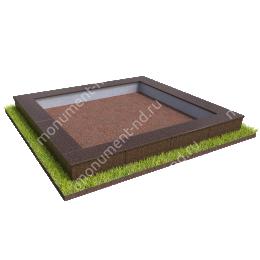 Бетонный цоколь на могилу БЦ-001_2 # 200х180 см