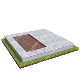 Бетонный цоколь на могилу полуподиум БЦП-002_4 # 200х180 см