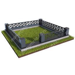 Гранитный цоколь с оградой ГЦО-011  гранит/металл