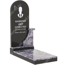 Комбинированный памятник из двух гранитов КБ-012-4 гранит габбро 100х50х7 см