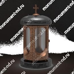 Лампада на могилу-003 гранит/металл/стекло цвет черный 35х15 см