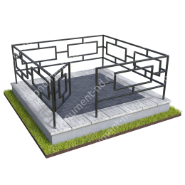 Бетонный цоколь с оградой на могилу  БЦО-001_4 # 200х180 см