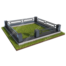 Гранитный цоколь с оградой ГЦО-012  гранит/металл