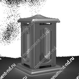 Лампада на могилу-001-3 полимергранит,стекло цвет серебро 24х15 см