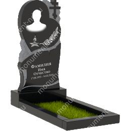 Памятник с крестом K-029 гранит габбро цвет черный 100*50*5
