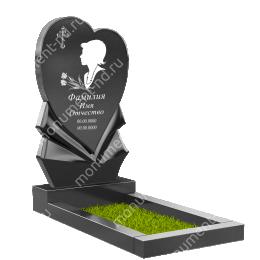 Памятник с сердцем ПС-12 гранит габбро цвет черный 120*60*8
