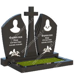 Двойной памятник Д-21 гранит габбро цвет черный 100*50*8