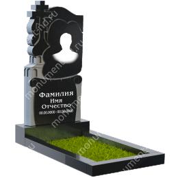 ПБ-33 Памятник с барельефом гранит габбро цвет черный 120*60*8