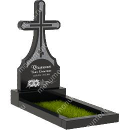 Памятник с крестом K-040 гранит габбро цвет черный 130*60*8