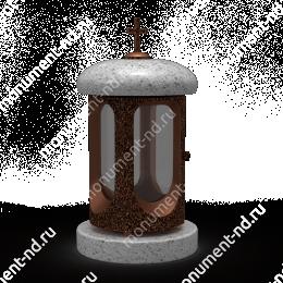 Лампада на могилу-003С гранит/металл/стекло цвет серый 35х15