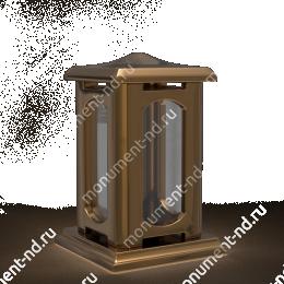 Лампада на могилу-001-2 полимергранит,стекло цвет золотой 24х15 см