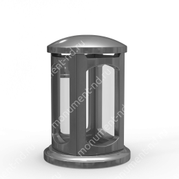 Лампада на могилу-004-3 полимергранит,стекло цвет серебро 24х15 см