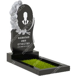 Резной памятник с барельефом ПБ-85 гранит габбро цвет черный 120*60*8