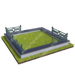Гранитный цоколь с оградой ГЦО-22 гранит/металл