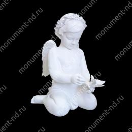 Ангел на памятник А-048 полимергранит цвет белый/бронза 57х48х32 см.