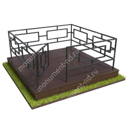 Бетонный цоколь полный подиум с оградой на могилу БЦППО-003_2 # 200х180 см