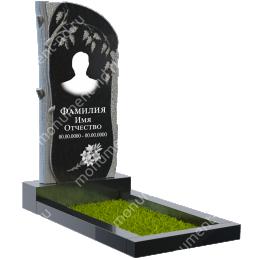Резной памятник с барельефом ПБ-6 гранит цвет чёрный 100*50*5