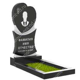 ПС-01 - Памятник с сердцем гранит габбро цвет черный 120*60*8