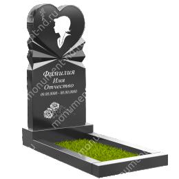 ПС-06 - Памятник с сердцем гранит габбро цвет черный 120*60*8