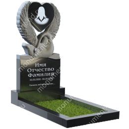 ПС-07 - Памятник с сердцем гранит габбро цвет черный 140*70*8