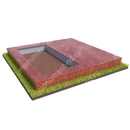 Бетонный цоколь на могилу полуподиум БЦП-002_2 # 200х180 см