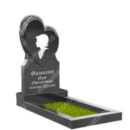 ПС-05 - Памятник с сердцем гранит габбро цвет черный 120*60*8