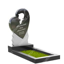 ПС-09 - Памятник с сердцем гранит габбро цвет черный 120*60*8
