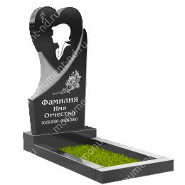 ПС-08 - Памятник с сердцем гранит габбро цвет черный 120*60*8