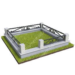 Гранитный цоколь с оградой ГЦО-23 гранит/металл