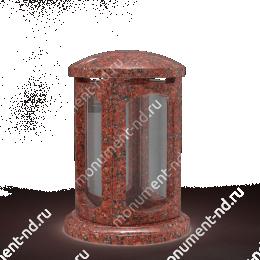 Лампада на могилу-004-1 полимергранит,стекло цвет красный 24х15 см