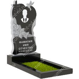 ПС-04 - Памятник с сердцем гранит габбро цвет черный 120*60*8