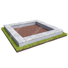 Бетонный цоколь на могилу облицованный БЦ-001_5 # 200х180 см