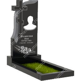 Резной памятник с барельефом ПБ-23 гранит габбро цвет черный 100*50*5