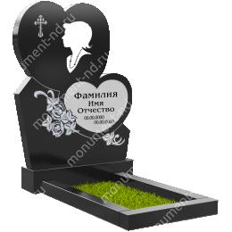ПС-21 - Памятник с сердцем гранит габбро цвет черный 120*80*8