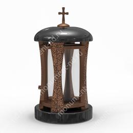 Лампада на могилу-002 гранит/металл/стекло цвет черный 35х15 см