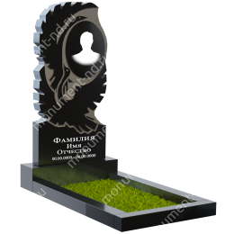 Резной памятник с барельефом ПБ-20 цвет черный 100*50*5
