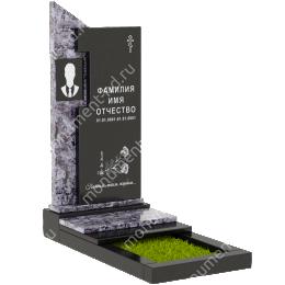 Комбинированный памятник из двух гранитов КБ-003-4 гранит цвет черный 115х65х10 см