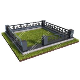 Гранитный цоколь с оградой ГЦО-015  гранит/металл