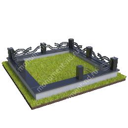 Гранитный цоколь с оградой ГЦО-016 гранит/металл