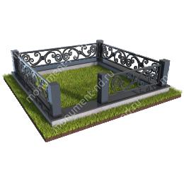 Гранитный цоколь с оградой ГЦО-04 гранит/металл