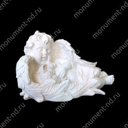 Ангел на памятник А-006  полимергранит цвет белый/бронза 25(ǿ 42) см.
