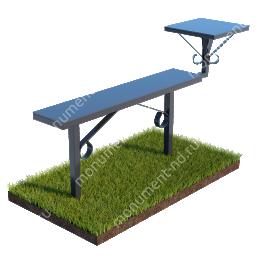 Лавочка с металлическим верхом и столиком совмещённые Л-006 40*40 см./80х100х20 см
