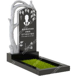 ПБ-90 Памятник с барельефом гранит габбро цвет черный 120*60*8