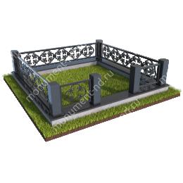 Гранитный цоколь с оградой ГЦО-08  гранит/металл